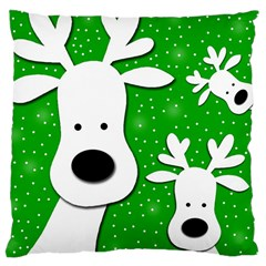 Christmas reindeer - green 2 Large Cushion Case (Two Sides)