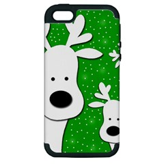 Christmas reindeer - green 2 Apple iPhone 5 Hardshell Case (PC+Silicone)