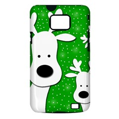 Christmas reindeer - green 2 Samsung Galaxy S II i9100 Hardshell Case (PC+Silicone)