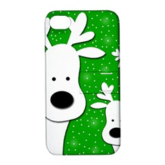 Christmas reindeer - green 2 Apple iPhone 4/4S Hardshell Case with Stand