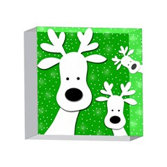 Christmas reindeer - green 2 4 x 4  Acrylic Photo Blocks