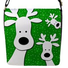 Christmas reindeer - green 2 Flap Messenger Bag (S)