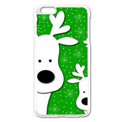 Christmas reindeer - green 2 Apple iPhone 6 Plus/6S Plus Enamel White Case