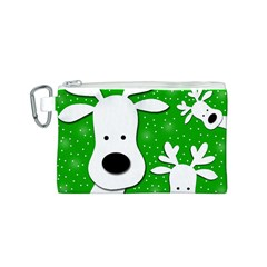 Christmas reindeer - green 2 Canvas Cosmetic Bag (S)