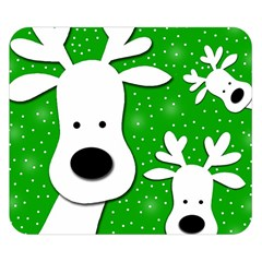 Christmas reindeer - green 2 Double Sided Flano Blanket (Small)