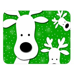 Christmas reindeer - green 2 Double Sided Flano Blanket (Large)