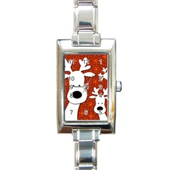Christmas reindeer - red 2 Rectangle Italian Charm Watch