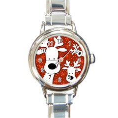 Christmas reindeer - red 2 Round Italian Charm Watch