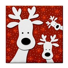 Christmas reindeer - red 2 Tile Coasters