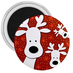 Christmas reindeer - red 2 3  Magnets
