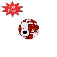 Christmas reindeer - red 2 1  Mini Buttons (100 pack)
