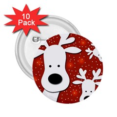 Christmas reindeer - red 2 2.25  Buttons (10 pack)