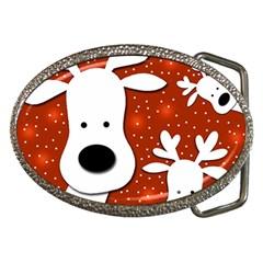Christmas reindeer - red 2 Belt Buckles