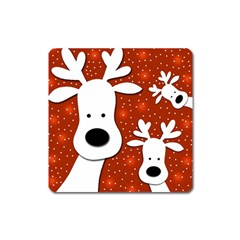 Christmas reindeer - red 2 Square Magnet