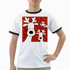 Christmas reindeer - red 2 Ringer T-Shirts
