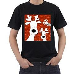 Christmas reindeer - red 2 Men s T-Shirt (Black) (Two Sided)