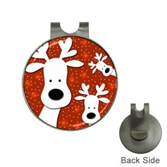 Christmas reindeer - red 2 Hat Clips with Golf Markers