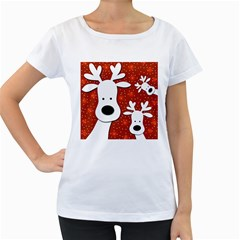 Christmas reindeer - red 2 Women s Loose-Fit T-Shirt (White)