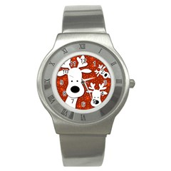 Christmas reindeer - red 2 Stainless Steel Watch