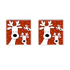 Christmas reindeer - red 2 Cufflinks (Square)
