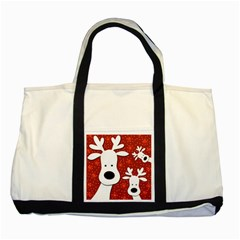 Christmas reindeer - red 2 Two Tone Tote Bag