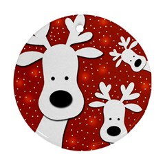 Christmas reindeer - red 2 Round Ornament (Two Sides)