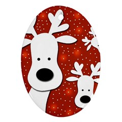 Christmas reindeer - red 2 Oval Ornament (Two Sides)