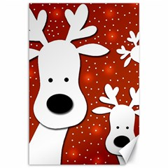 Christmas reindeer - red 2 Canvas 12  x 18