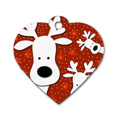 Christmas reindeer - red 2 Dog Tag Heart (Two Sides)
