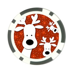 Christmas reindeer - red 2 Poker Chip Card Guards