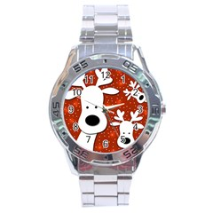 Christmas reindeer - red 2 Stainless Steel Analogue Watch
