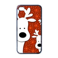 Christmas reindeer - red 2 Apple iPhone 4 Case (Black)