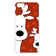 Christmas reindeer - red 2 Apple iPhone 5 Seamless Case (White)