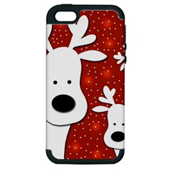 Christmas reindeer - red 2 Apple iPhone 5 Hardshell Case (PC+Silicone)