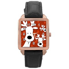 Christmas reindeer - red 2 Rose Gold Leather Watch