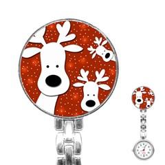 Christmas reindeer - red 2 Stainless Steel Nurses Watch