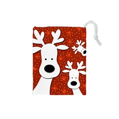 Christmas reindeer - red 2 Drawstring Pouches (Small)