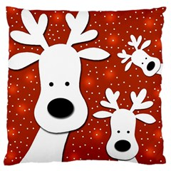 Christmas reindeer - red 2 Large Flano Cushion Case (Two Sides)