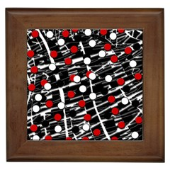 Red and white dots Framed Tiles