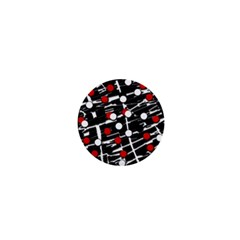 Red and white dots 1  Mini Magnets