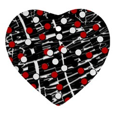 Red and white dots Ornament (Heart)