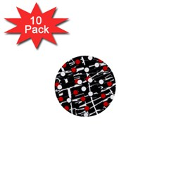 Red and white dots 1  Mini Buttons (10 pack)