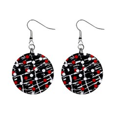 Red and white dots Mini Button Earrings