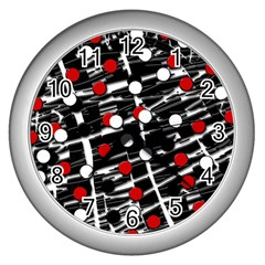 Red and white dots Wall Clocks (Silver)