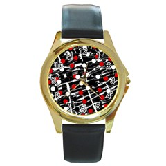 Red and white dots Round Gold Metal Watch