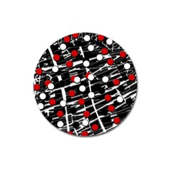 Red and white dots Magnet 3  (Round)