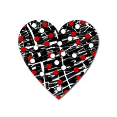 Red and white dots Heart Magnet