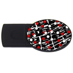 Red and white dots USB Flash Drive Oval (1 GB)