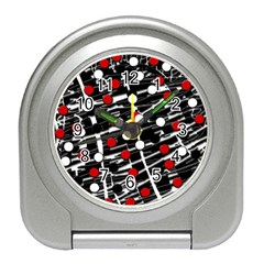 Red and white dots Travel Alarm Clocks