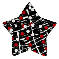 Red and white dots Star Ornament (Two Sides)